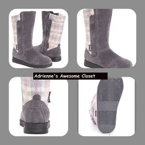 Muk Luks Charcoal Plaid Stacy Boot Water Resistant
